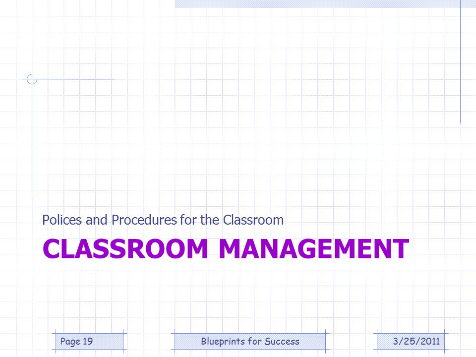 CLASSROOM MANAGEMENT Polices and Procedures for the Classroom 3/25/2011Page 19Blueprints for Success
