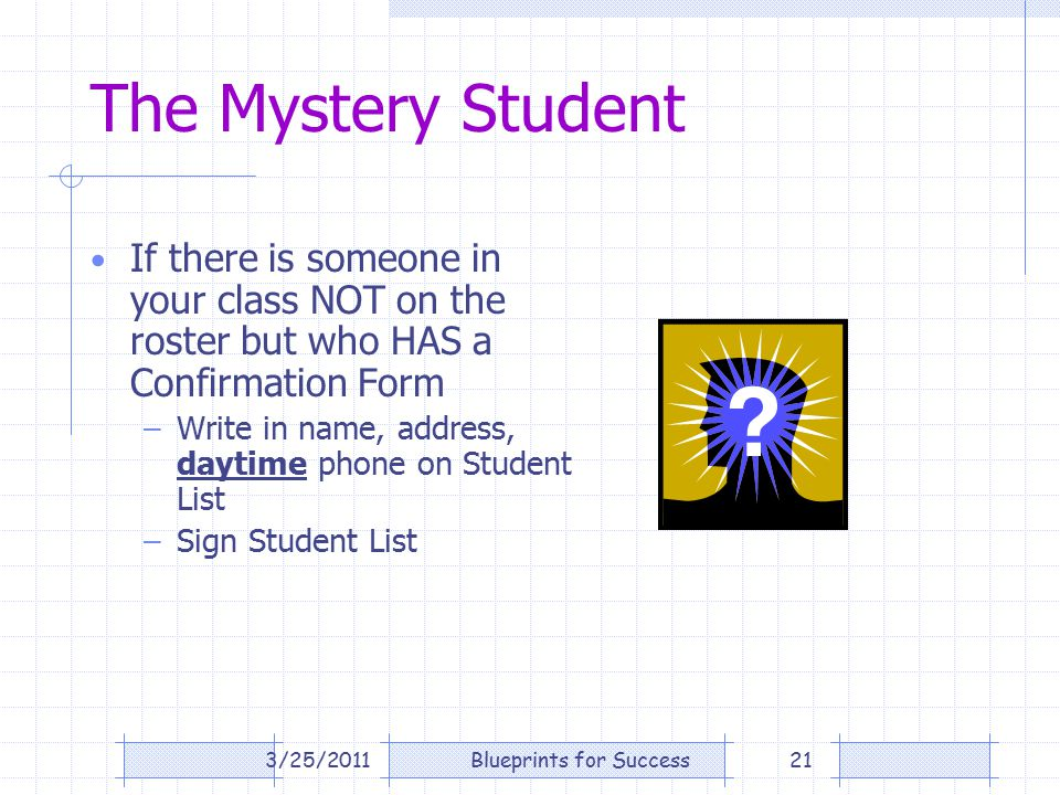 The Mystery Student If there is someone in your class NOT on the roster but who HAS a Confirmation Form –Write in name, address, daytime phone on Student List –Sign Student List 3/25/201121Blueprints for Success