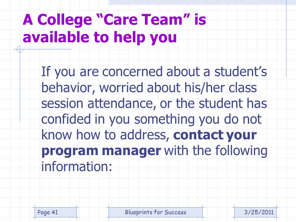 A College Care Team is available to help you If you are concerned about a student's behavior, worried about his/her class session attendance, or the student has confided in you something you do not know how to address, contact your program manager with the following information: 3/25/2011Page 41Blueprints for Success