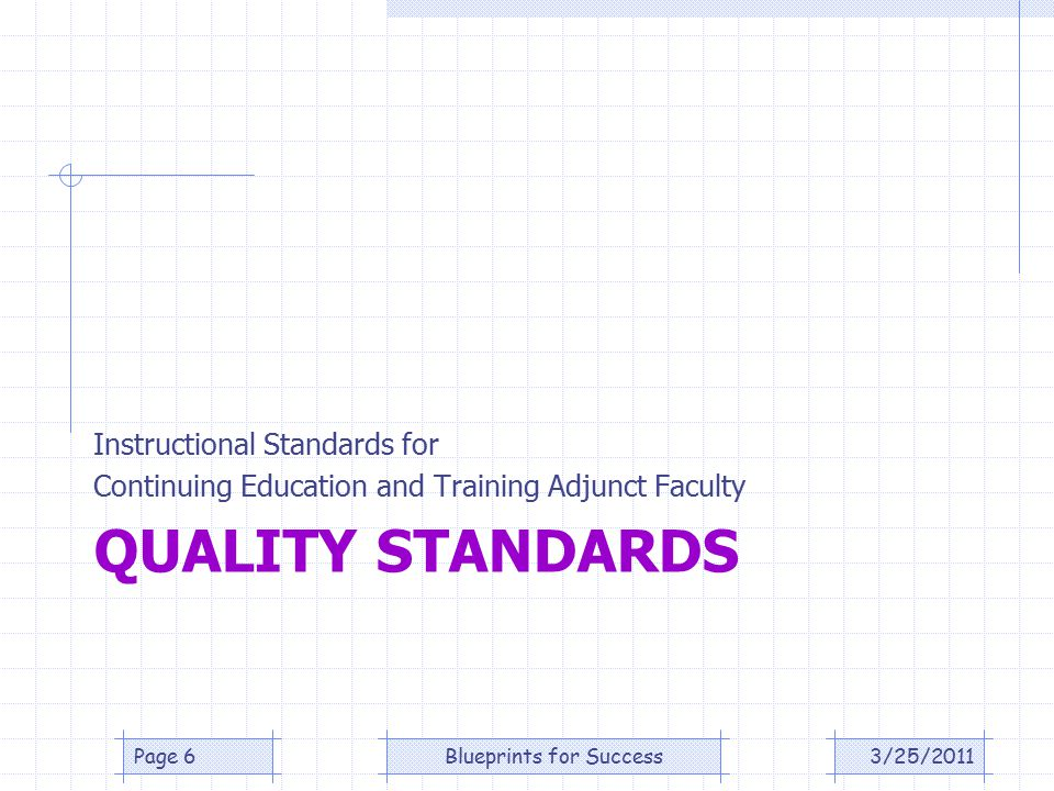 QUALITY STANDARDS Instructional Standards for Continuing Education and Training Adjunct Faculty 3/25/2011Page 6Blueprints for Success