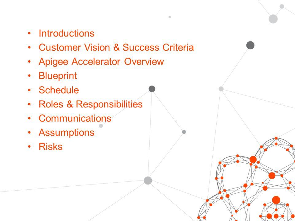 Introductions Customer Vision & Success Criteria Apigee Accelerator Overview Blueprint Schedule Roles & Responsibilities Communications Assumptions Risks