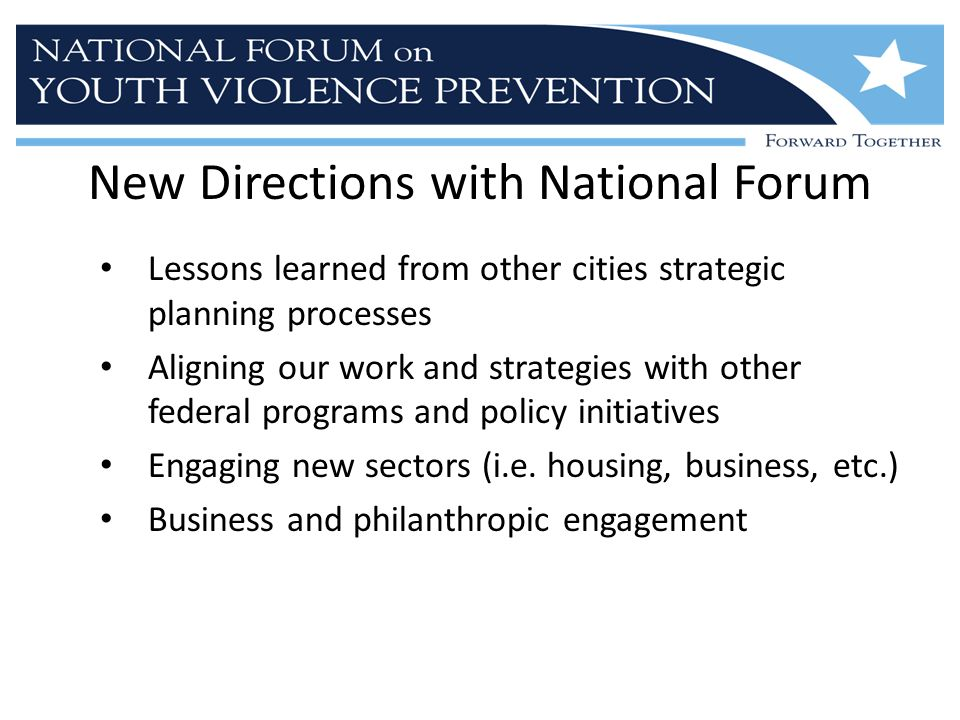 New Directions with National Forum Lessons learned from other cities strategic planning processes Aligning our work and strategies with other federal