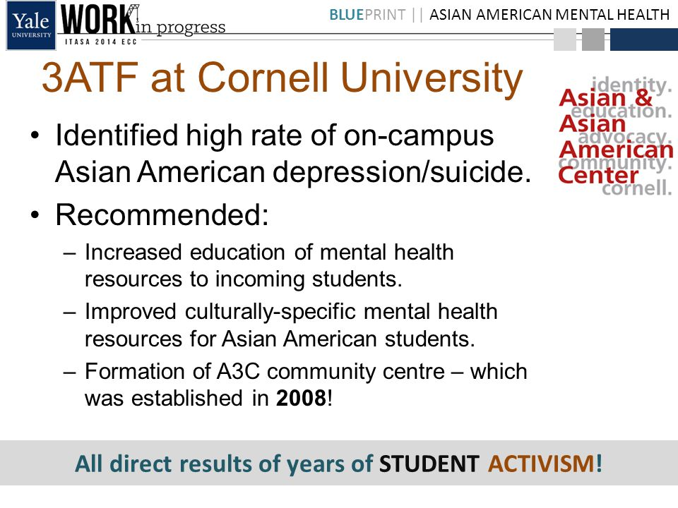 BLUEPRINT || ASIAN AMERICAN MENTAL HEALTH 3ATF at Cornell University Identified high rate of on-campus Asian American depression/suicide.