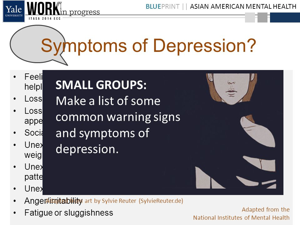 BLUEPRINT || ASIAN AMERICAN MENTAL HEALTH Feelings of helplessness/hopelessness Loss of interest in daily activities Loss of attention or interest in