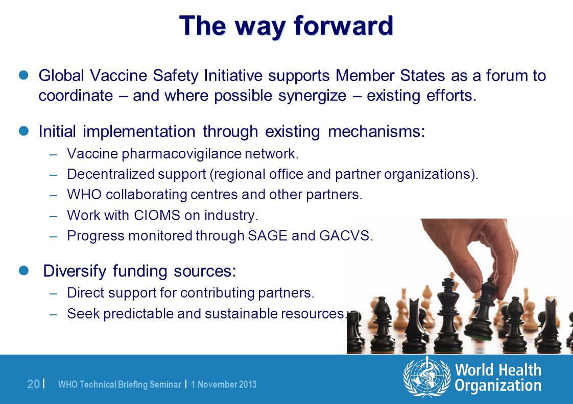 WHO Technical Briefing Seminar | 1 November 2013 20 | The way forward Global Vaccine Safety Initiative supports Member States as a forum to coordinate – and where possible synergize – existing efforts.