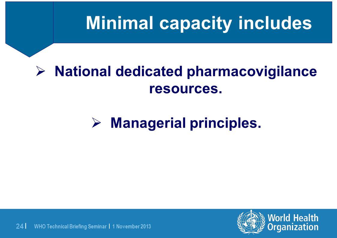 WHO Technical Briefing Seminar | 1 November 2013 24 | Minimal capacity includes  National dedicated pharmacovigilance resources.