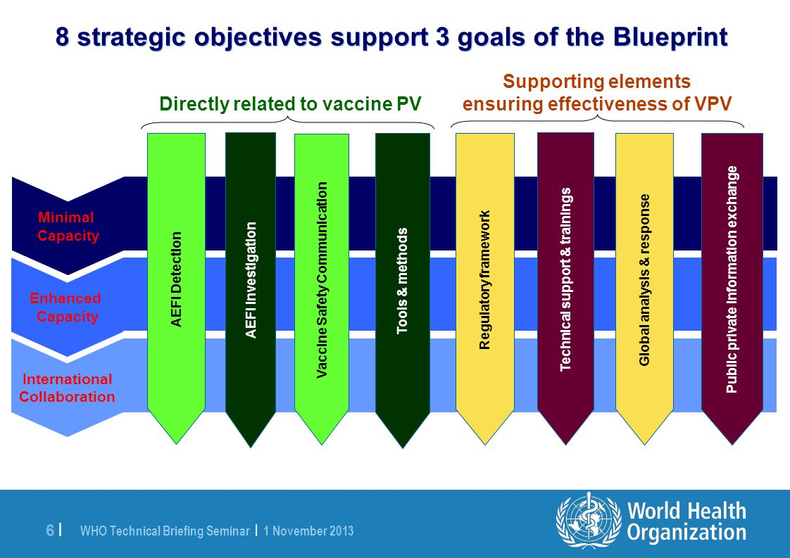 WHO Technical Briefing Seminar | 1 November 2013 6 |6 | 8 strategic objectives support 3 goals of the Blueprint International Collaboration Minimal Capacity Obj.