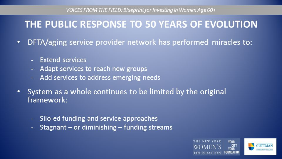 THE PUBLIC RESPONSE TO 50 YEARS OF EVOLUTION DFTA/aging service provider network has performed miracles to: -Extend services -Adapt services to reach new groups -Add services to address emerging needs System as a whole continues to be limited by the original framework: -Silo-ed funding and service approaches -Stagnant – or diminishing – funding streams VOICES FROM THE FIELD: Blueprint for Investing in Women Age 60+