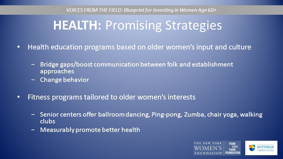 HEALTH: Promising Strategies Health education programs based on older women's input and culture −Bridge gaps/boost communication between folk and establishment approaches −Change behavior Fitness programs tailored to older women's interests −Senior centers offer ballroom dancing, Ping-pong, Zumba, chair yoga, walking clubs −Measurably promote better health VOICES FROM THE FIELD: Blueprint for Investing in Women Age 60+