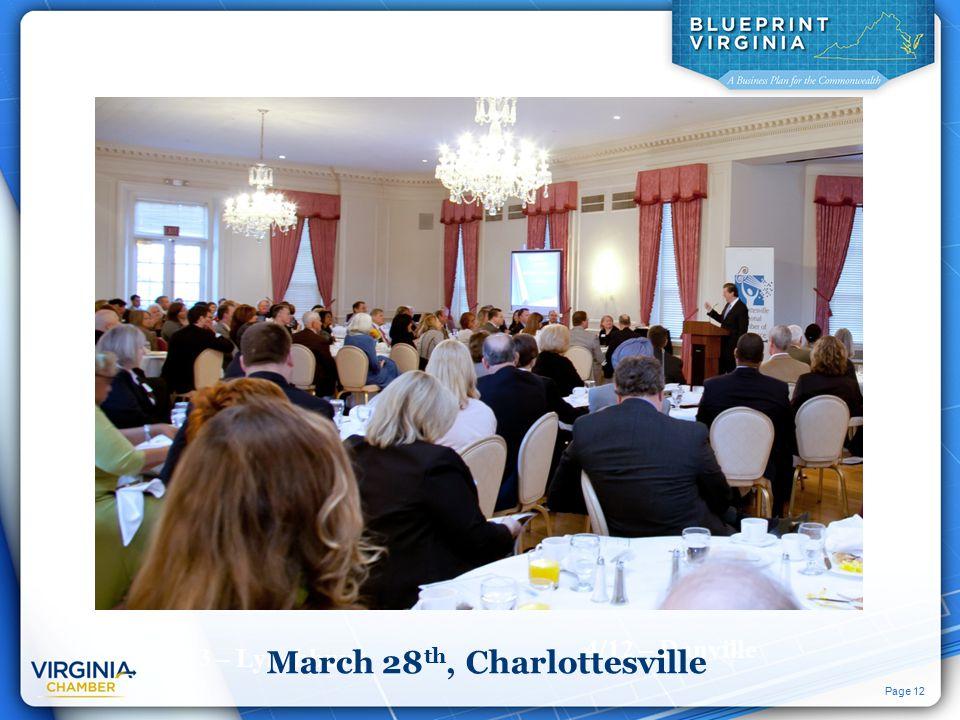 Page 12 3/13 – Lynchburg 4/23 – Fredericksburg 3/28 – Charlottesville 4/12 – Danville March 28 th, Charlottesville