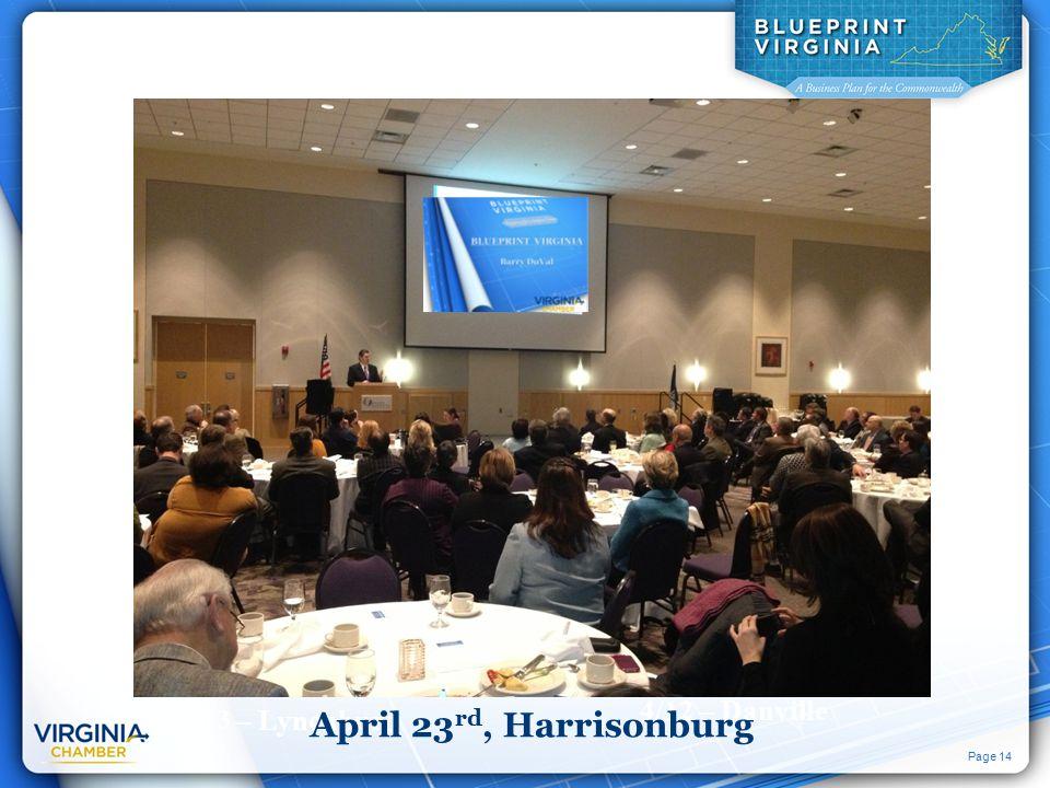 Page 14 3/13 – Lynchburg 4/23 – Fredericksburg 3/28 – Charlottesville 4/12 – Danville April 23 rd, Harrisonburg
