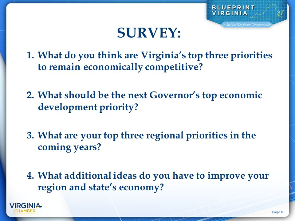 Page 16 SURVEY: 1.What do you think are Virginia's top three priorities to remain economically competitive.