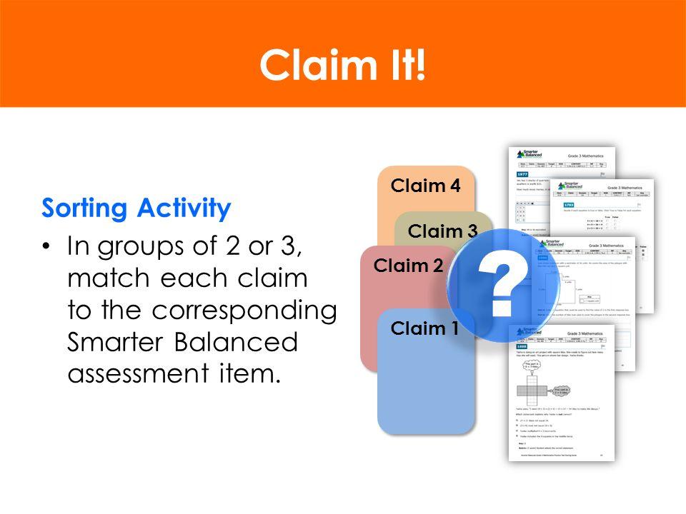 Smarter Balanced Blueprint Claims Targets DOK Levels Total Items Item Types SBAC BLUEPRINT
