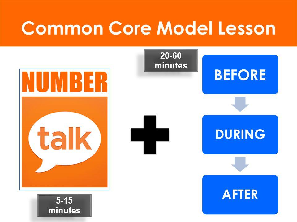 Common Core Model Lesson 5-15 minutes 20-60 minutes