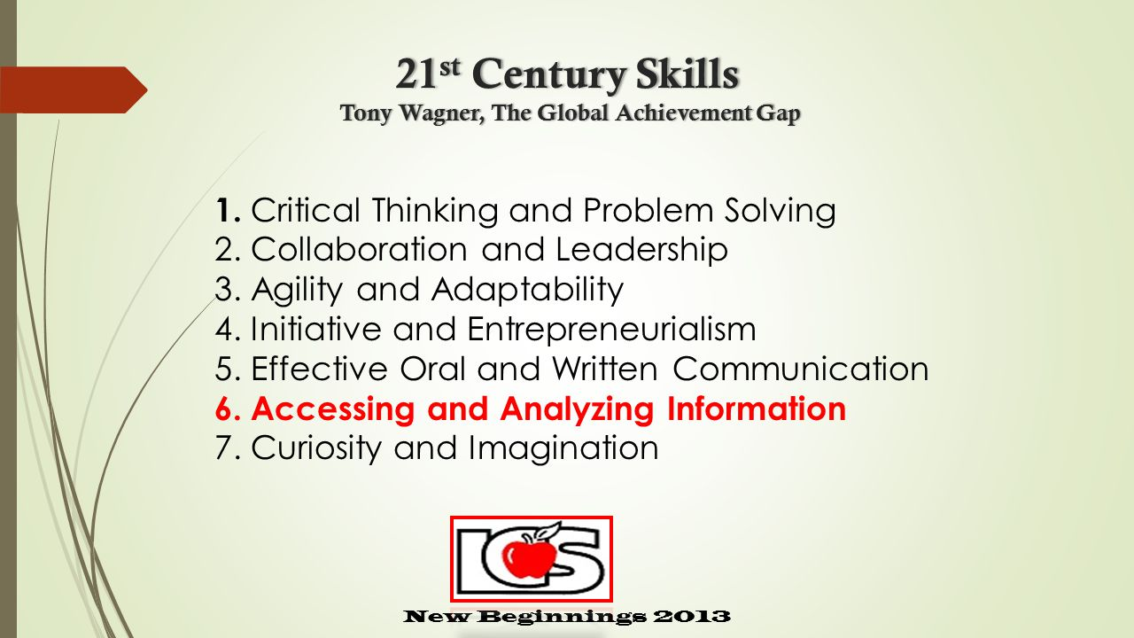 21 st Century Skills Tony Wagner, The Global Achievement Gap New Beginnings 2013 1.