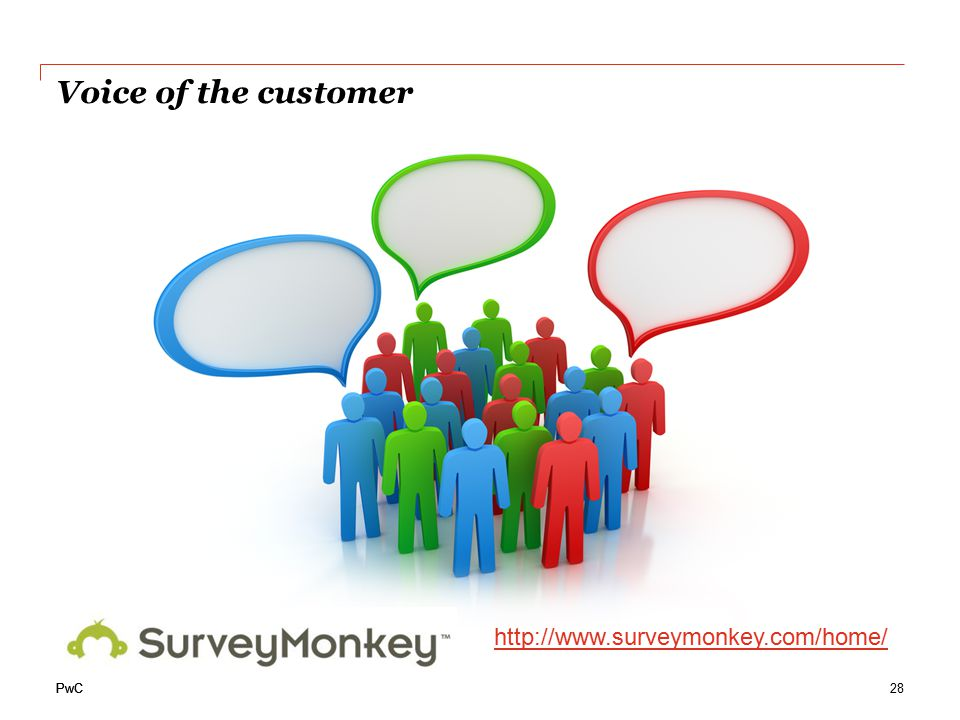 PwC http://www.surveymonkey.com/home/ Voice of the customer 28