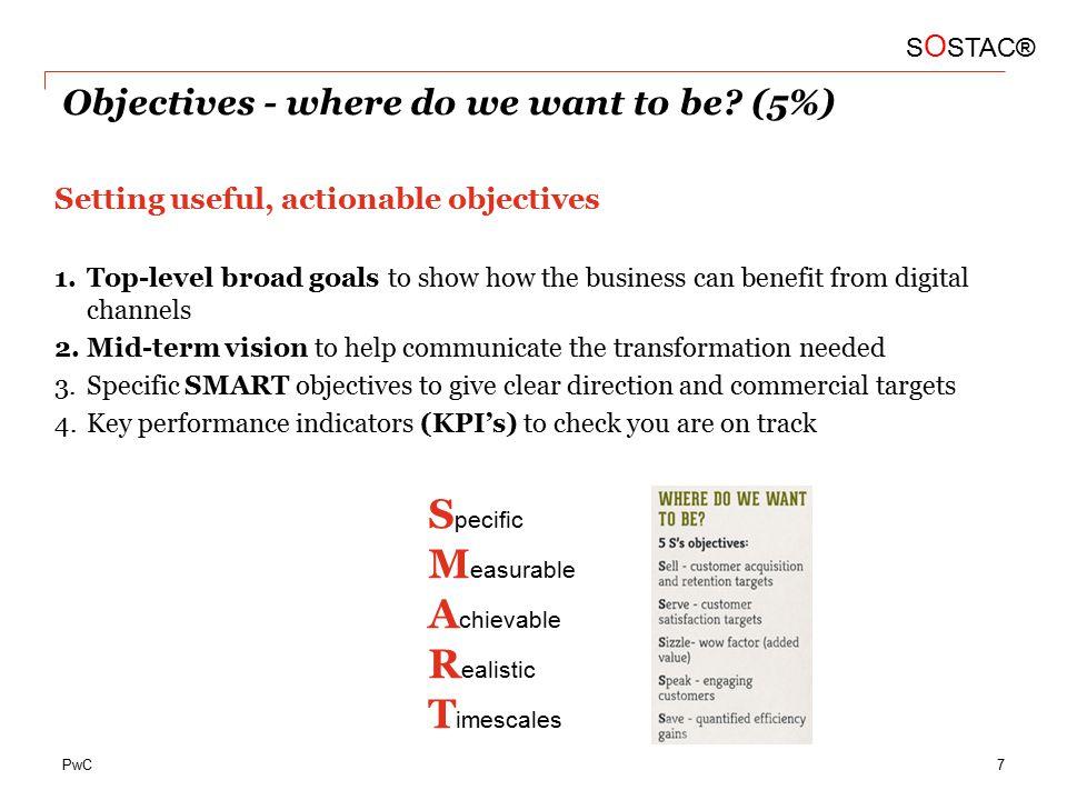 PwC Objectives - where do we want to be.