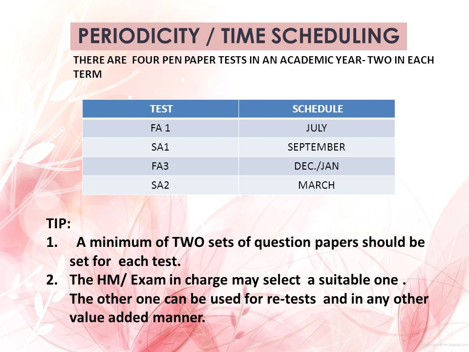 PERIODICITY / TIME SCHEDULING THERE ARE FOUR PEN PAPER TESTS IN AN ACADEMIC YEAR- TWO IN EACH TERM TEST SCHEDULE FA 1JULY SA1SEPTEMBER FA3DEC./JAN SA2
