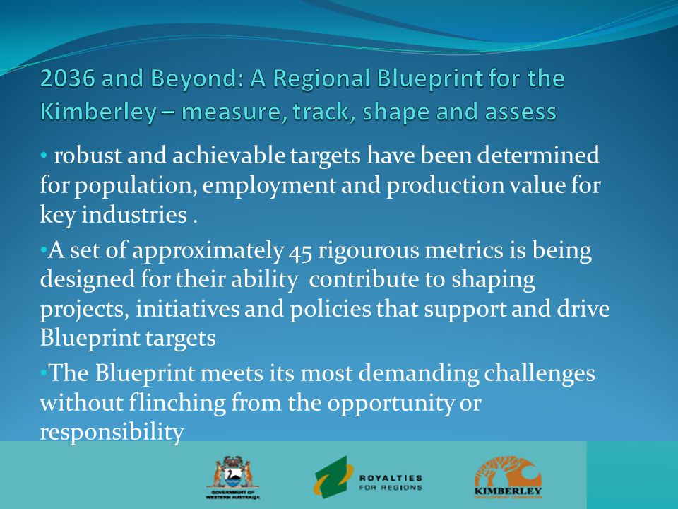 robust and achievable targets have been determined for population, employment and production value for key industries.