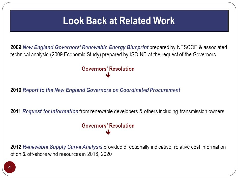 Look Back at Related Work 4 2009 New England Governors' Renewable Energy Blueprint prepared by NESCOE & associated technical analysis (2009 Economic Study) prepared by ISO-NE at the request of the Governors Governors' Resolution  2010 Report to the New England Governors on Coordinated Procurement 2011 Request for Information from renewable developers & others including transmission owners Governors' Resolution  2012 Renewable Supply Curve Analysis provided directionally indicative, relative cost information of on & off-shore wind resources in 2016, 2020