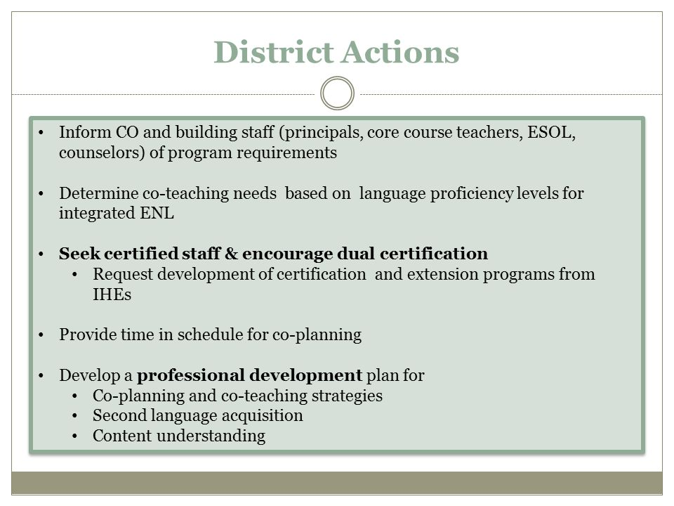 BILINGUAL EDUCATION PROGRAM REQUIREMENTS Current regulations require school districts to implement bilingual programs comprised of two components: a language arts instructional component and a content area instructional component Bilingual Education program is comprised of three components: 1)Language arts component (Home Language Arts) 2)English as a New Language component 3)Bilingual content area instructional components in at least two core content areas (math, science, social studies) STAFF/CERTIFICATION Bilingual Program Staff ENL Program Staff Bilingual Program staff require 1)teachers with NYS certification in elementary or content area and a bilingual extension 2)Counselors, SE staff, psychologists with bilingual extension English as a New Language instruction is required to be offered through two settings: 1) Integrated ENL/ESL (ESL methodologies in content area instruction co-taught or individually taught by a dually certified teacher); and 2) Stand-Alone ENL/ESL (ESL instruction with an ESOL teacher to develop the English language needed for academic success).