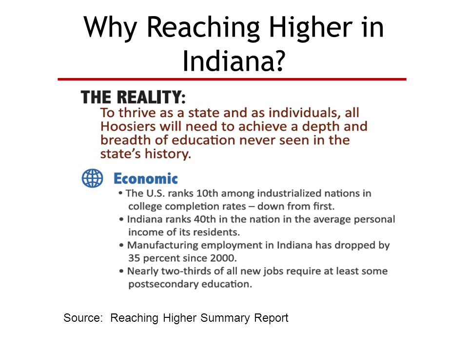 Why Reaching Higher in Indiana Source: Reaching Higher Summary Report