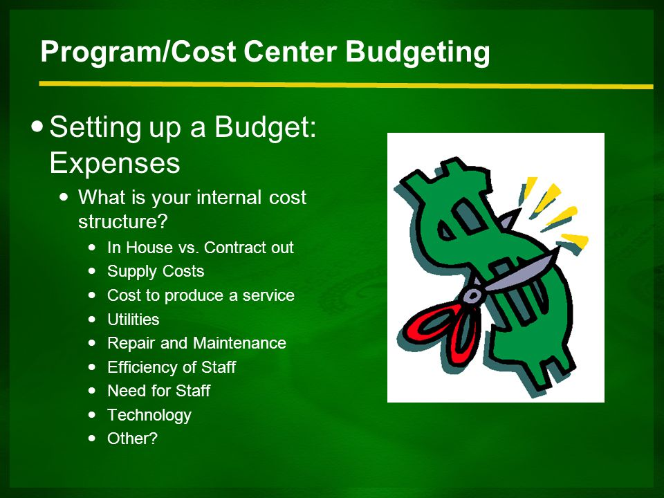 Program/Cost Center Budgeting Setting up a Budget: Expenses What is your internal cost structure.