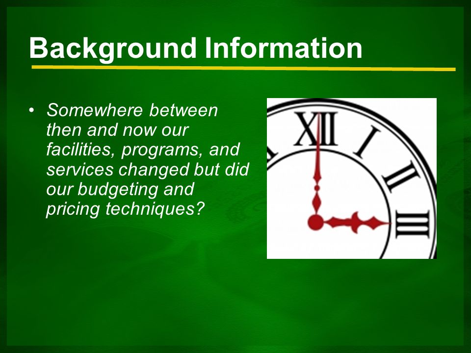 Background Information Somewhere between then and now our facilities, programs, and services changed but did our budgeting and pricing techniques