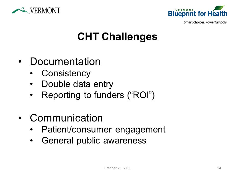 14 CHT Challenges Documentation Consistency Double data entry Reporting to funders ( ROI ) Communication Patient/consumer engagement General public awareness 14October 21, 2103