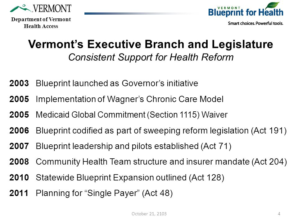 4 Department of Vermont Health Access Vermont's Executive Branch and Legislature Consistent Support for Health Reform 2003 Blueprint launched as Governor's initiative 2005 Implementation of Wagner's Chronic Care Model 2005 Medicaid Global Commitment (Section 1115) Waiver 2006 Blueprint codified as part of sweeping reform legislation (Act 191) 2007 Blueprint leadership and pilots established (Act 71) 2008 Community Health Team structure and insurer mandate (Act 204) 2010 Statewide Blueprint Expansion outlined (Act 128) 2011 Planning for Single Payer (Act 48) October 21, 2103