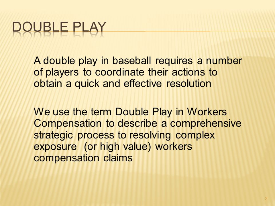 A double play in baseball requires a number of players to coordinate their actions to obtain a quick and effective resolution We use the term Double P