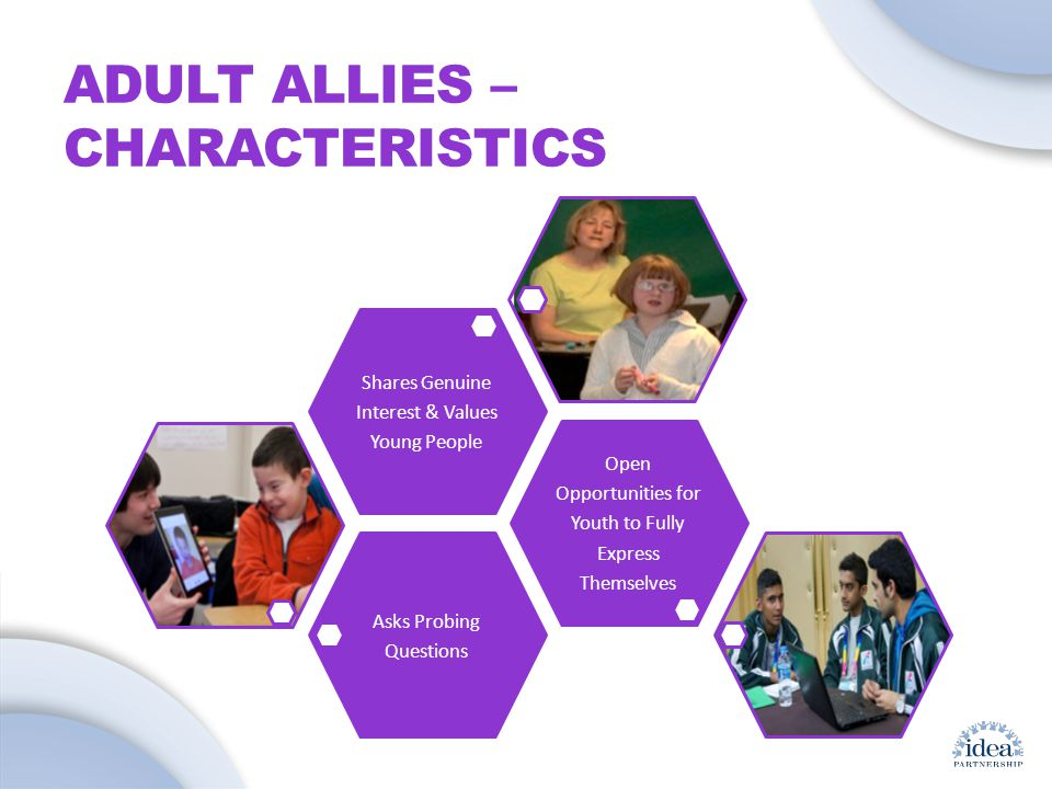 Leading by Convening: A Blueprint for Authentic Engagement (c) 2014 IDEA Partnership ADULT ALLIES – CHARACTERISTICS Asks Probing Questions Open Opportunities for Youth to Fully Express Themselves Shares Genuine Interest & Values Young People