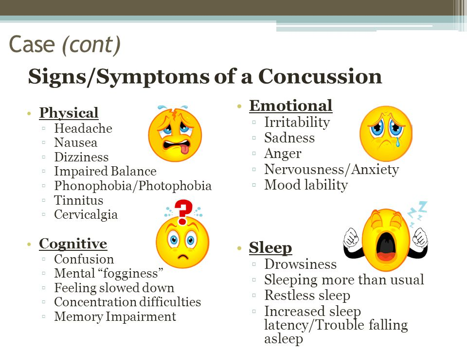 Signs/Symptoms of a Concussion Physical ▫Headache ▫Nausea ▫Dizziness ▫Impaired Balance ▫Phonophobia/Photophobia ▫Tinnitus ▫Cervicalgia Cognitive ▫Confusion ▫Mental fogginess ▫Feeling slowed down ▫Concentration difficulties ▫Memory Impairment Emotional ▫Irritability ▫Sadness ▫Anger ▫Nervousness/Anxiety ▫Mood lability Sleep ▫Drowsiness ▫Sleeping more than usual ▫Restless sleep ▫Increased sleep latency/Trouble falling asleep Case (cont)