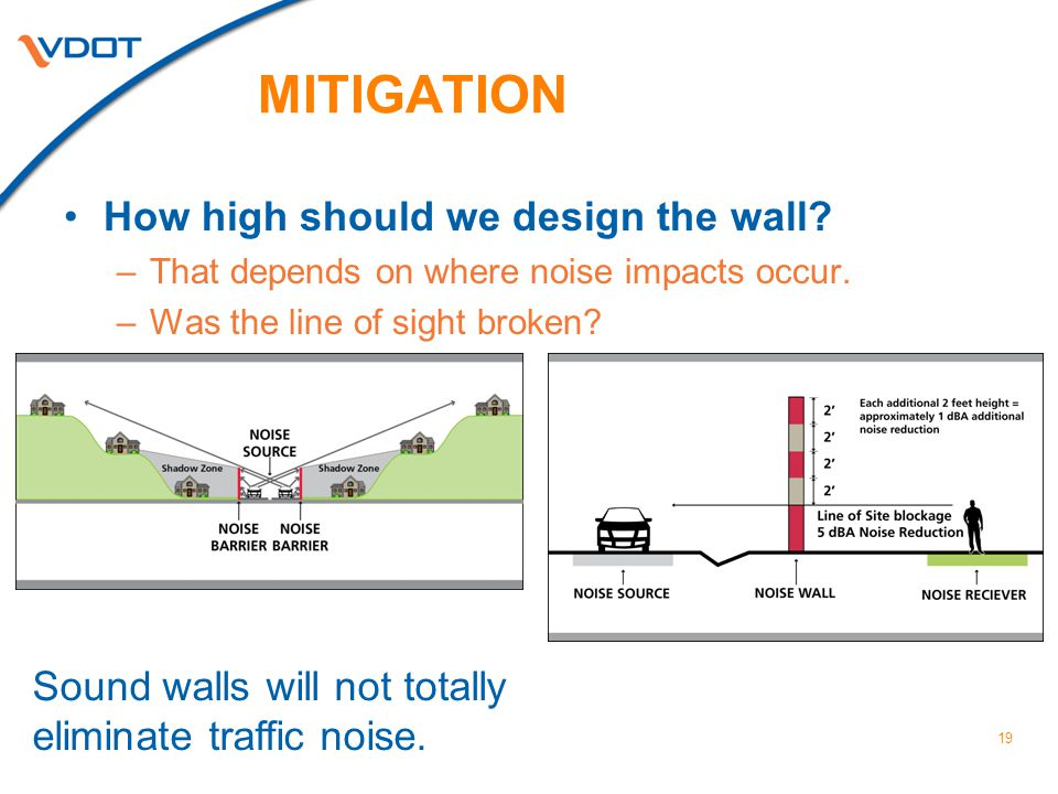 19 MITIGATION How high should we design the wall.–That depends on where noise impacts occur.