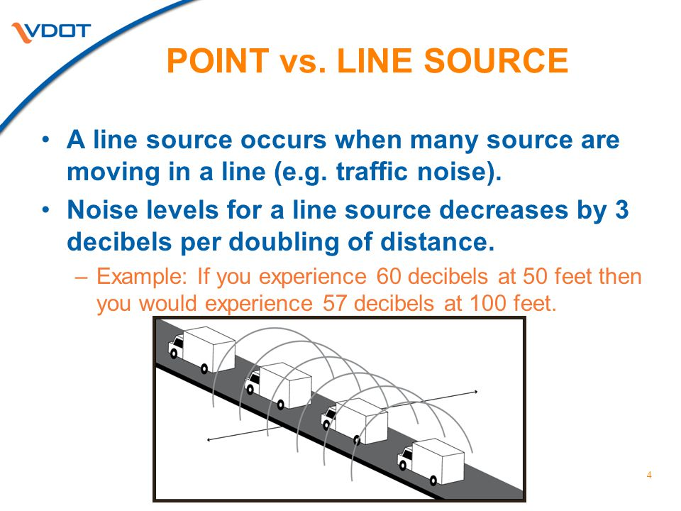 4 POINT vs. LINE SOURCE A line source occurs when many source are moving in a line (e.g.