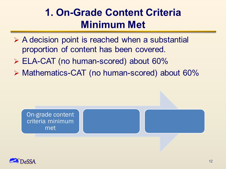 1. On-Grade Content Criteria Minimum Met  A decision point is reached when a substantial proportion of content has been covered.  ELA-CAT (no human-