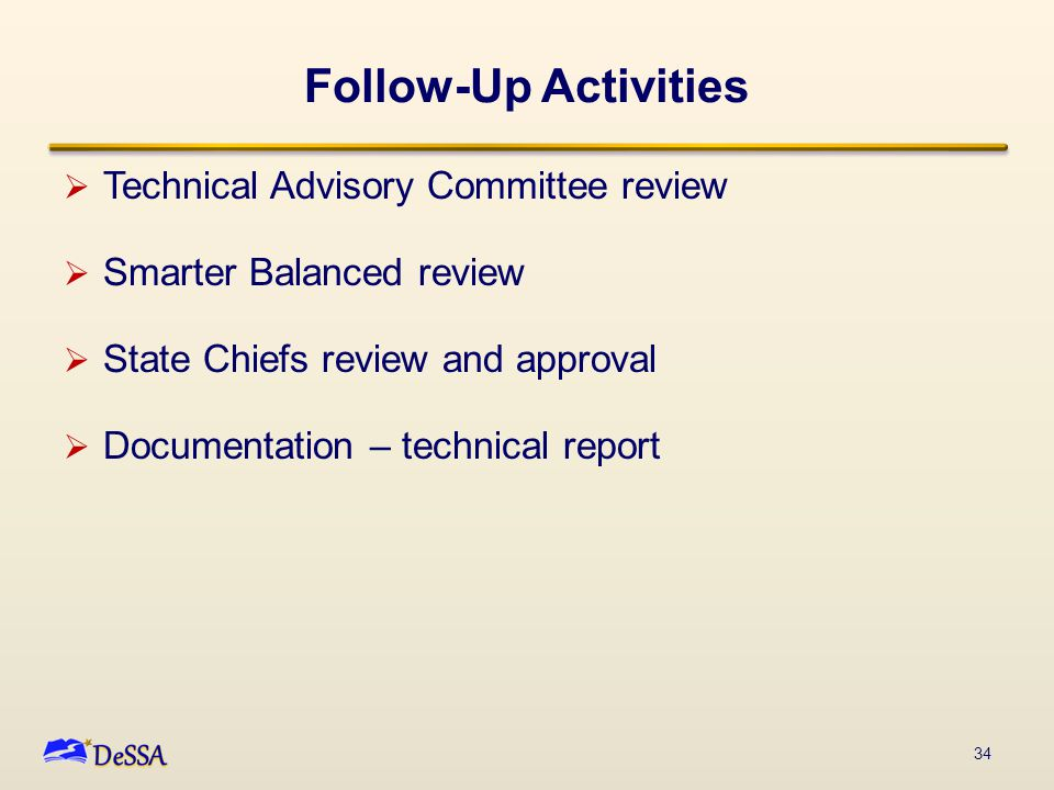 Follow-Up Activities  Technical Advisory Committee review  Smarter Balanced review  State Chiefs review and approval  Documentation – technical report 34