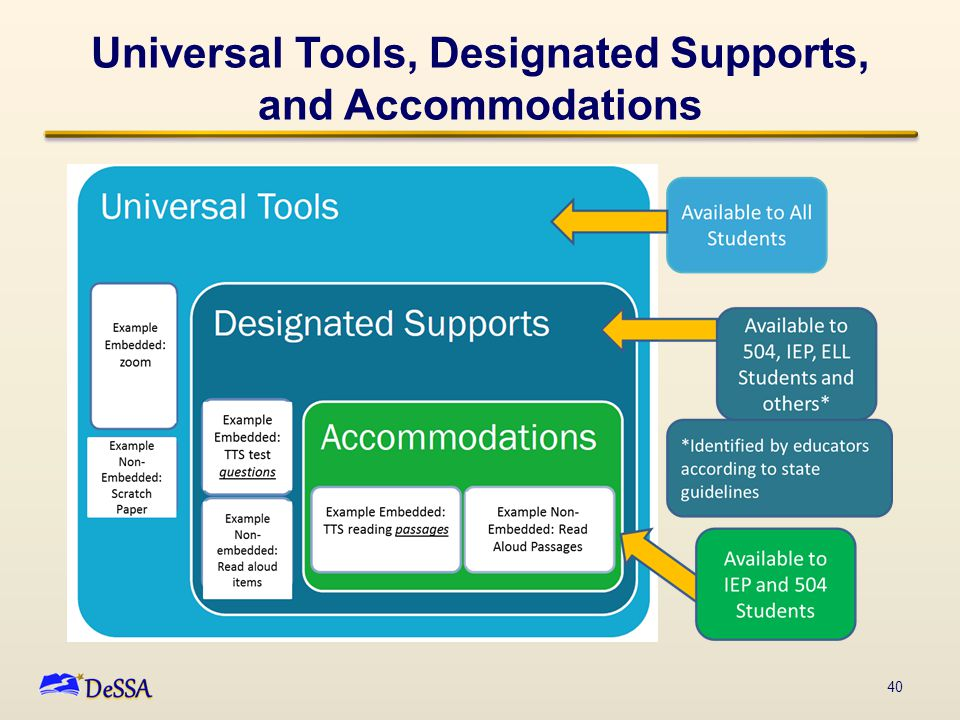 Universal Tools, Designated Supports, and Accommodations 40