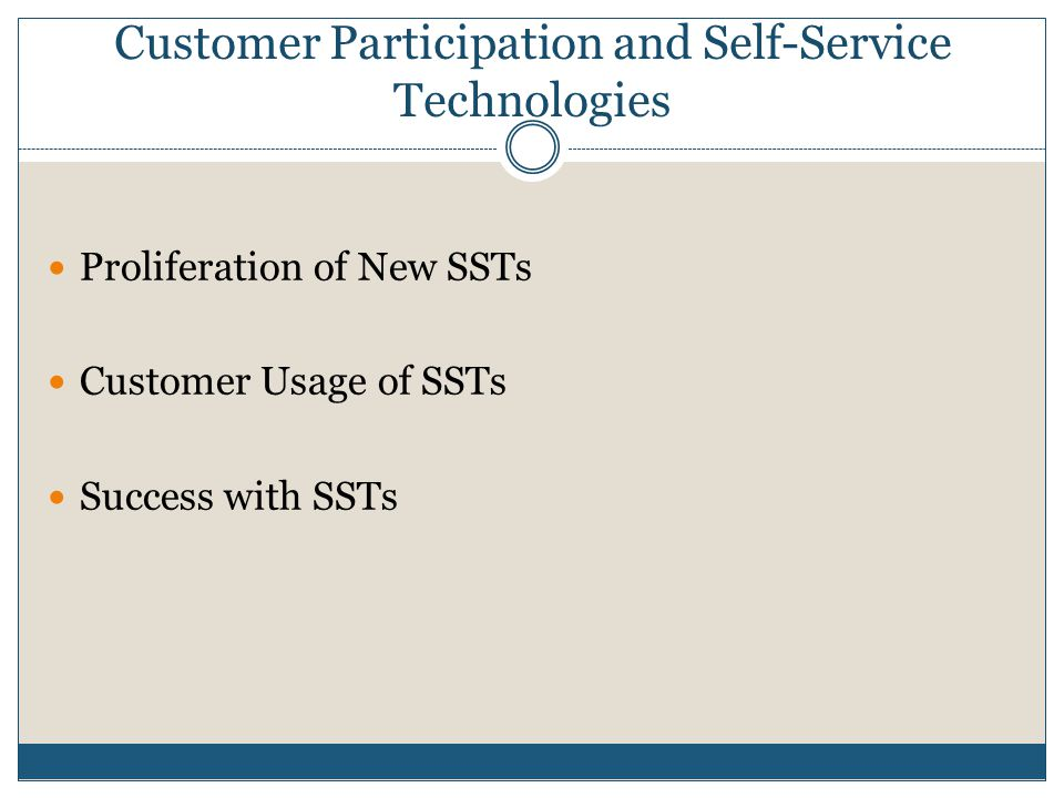 Customer Participation and Self-Service Technologies Proliferation of New SSTs Customer Usage of SSTs Success with SSTs