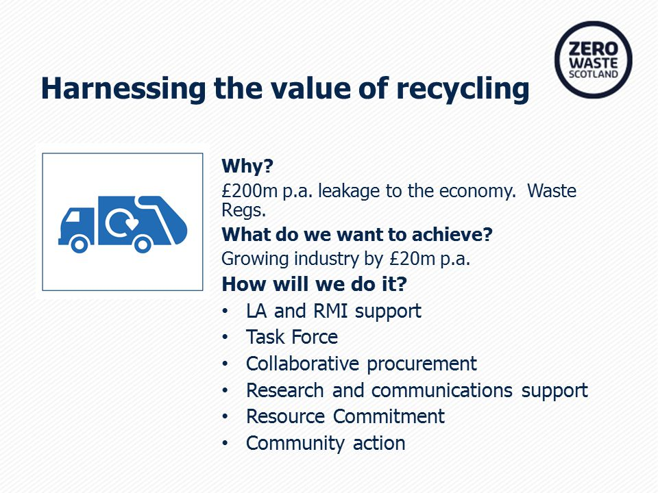 Harnessing the value of recycling Why. £200m p.a.