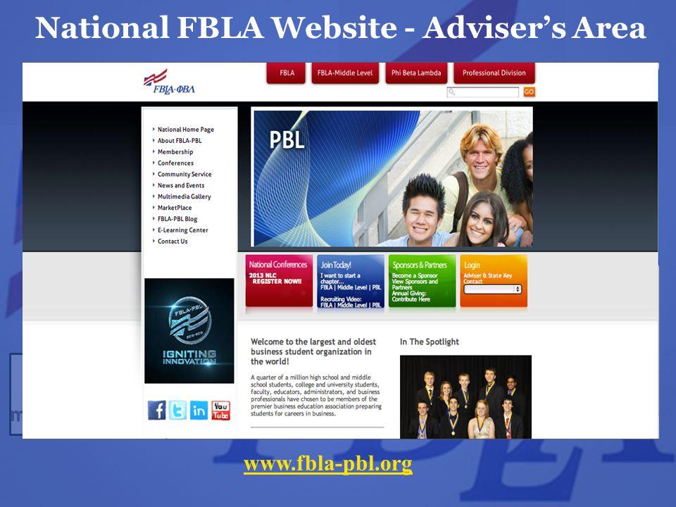 National FBLA Website - Adviser's Area www.fbla-pbl.org