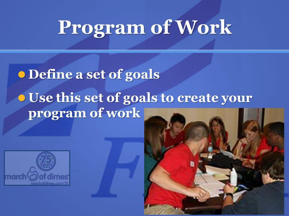 Program of Work Define a set of goals Define a set of goals Use this set of goals to create your program of work Use this set of goals to create your program of work