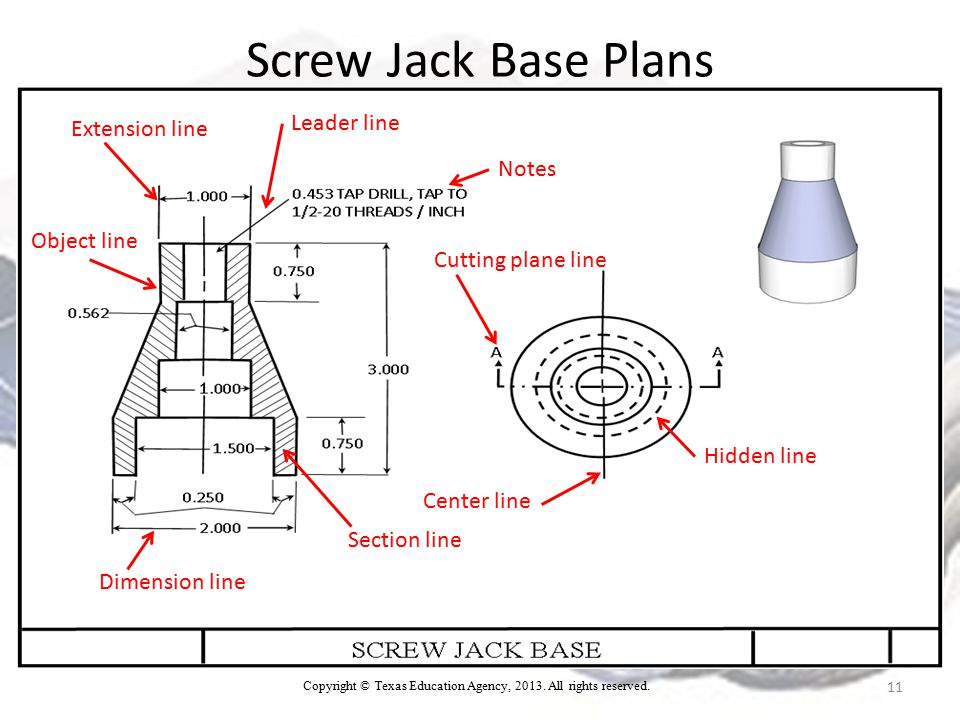 Screw Jack Base Plans 11 Extension line Dimension line Center line Section line Cutting plane line Object line Notes Leader line Hidden line Copyright © Texas Education Agency, 2013.