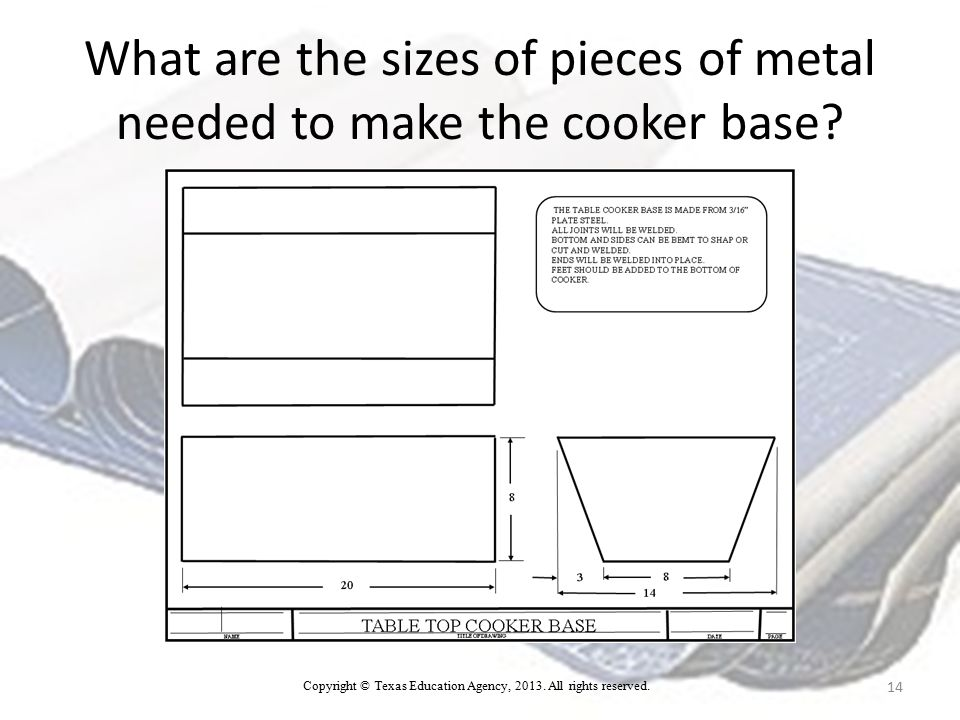What are the sizes of pieces of metal needed to make the cooker base.