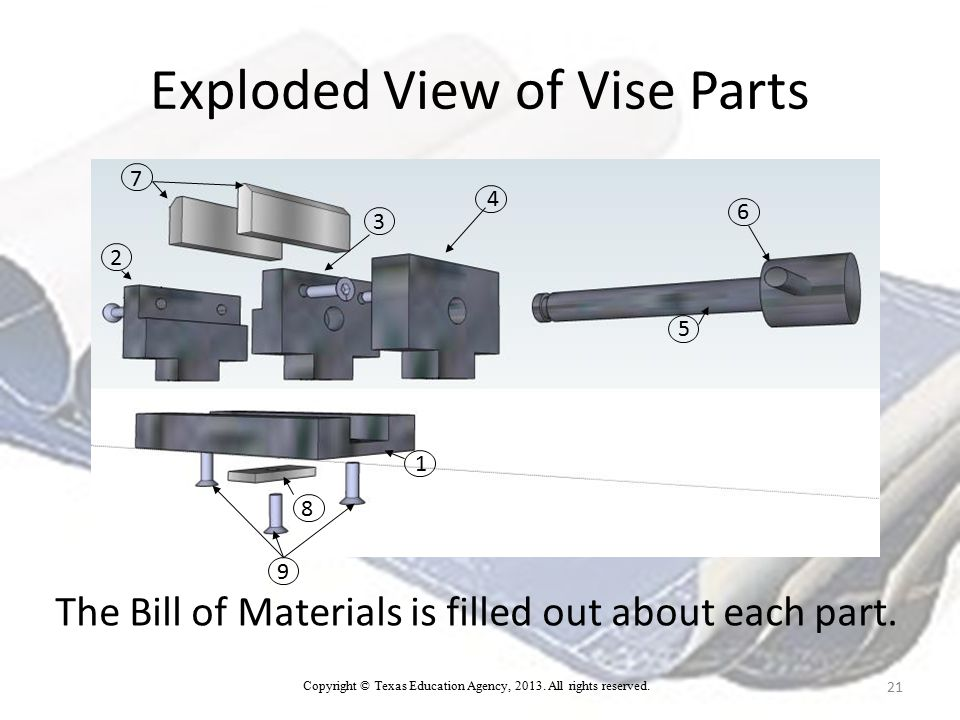 Exploded View of Vise Parts 21 1 7 4 3 2 9 8 6 5 The Bill of Materials is filled out about each part.