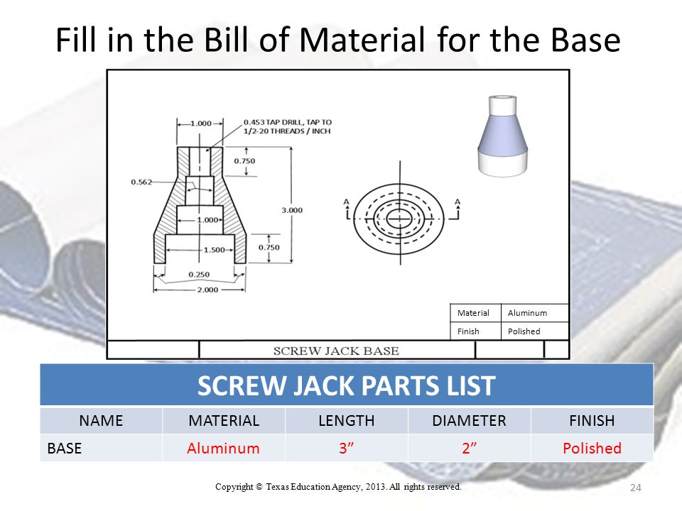 Fill in the Bill of Material for the Base SCREW JACK PARTS LIST NAMEMATERIALLENGTHDIAMETERFINISH BASEAluminum3 2 Polished 24 MaterialAluminum FinishPolished Copyright © Texas Education Agency, 2013.