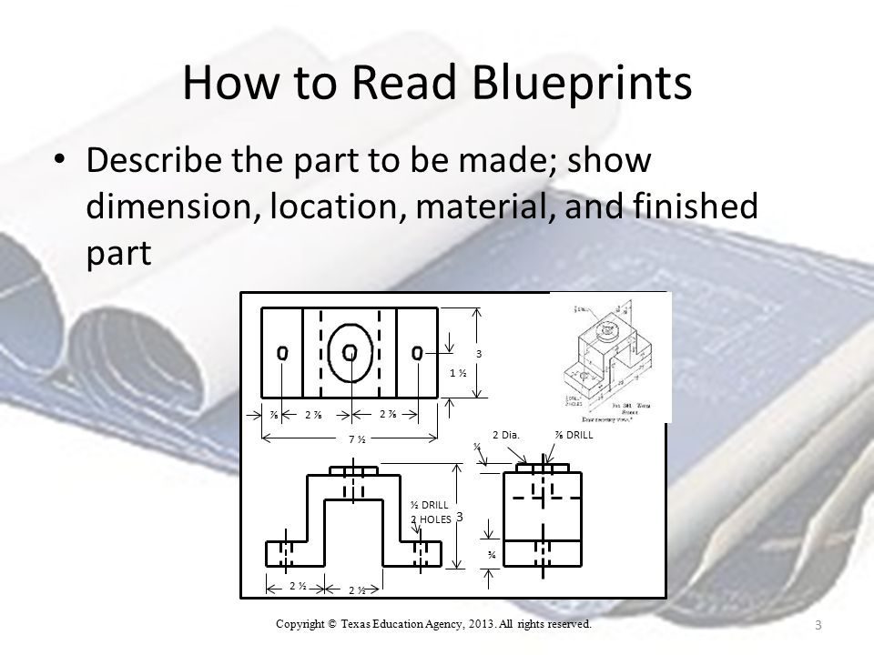 How to Read Blueprints Dimensions show the total size of the part.