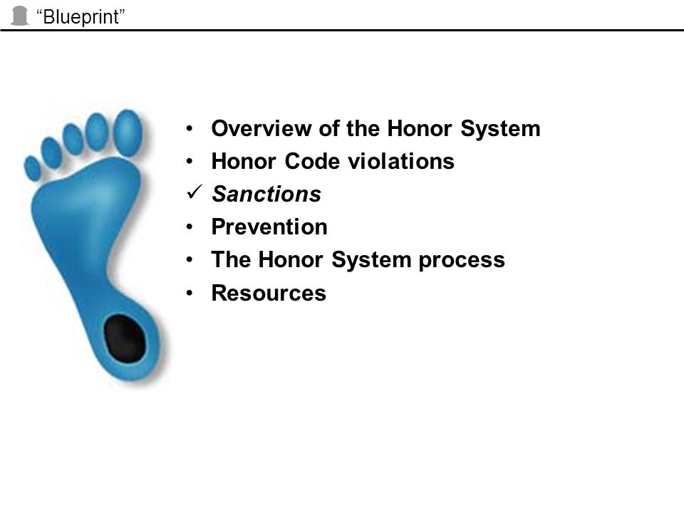 """Blueprint"" Overview of the Honor System Honor Code violations Sanctions Prevention The Honor System process Resources"