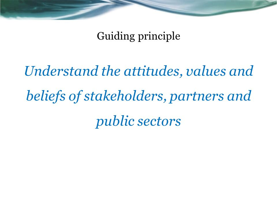 Guiding principle Understand the attitudes, values and beliefs of stakeholders, partners and public sectors