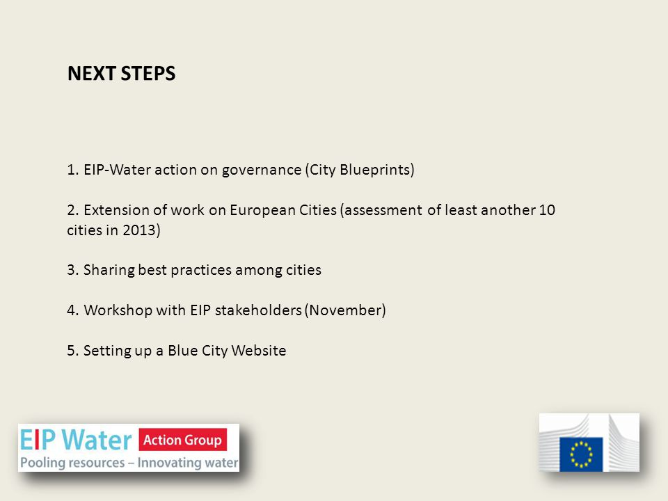 1. EIP-Water action on governance (City Blueprints) 2.